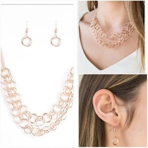 CIRCUS TENT TANGO ROSE GOLD NECKLACE/EARRING SET